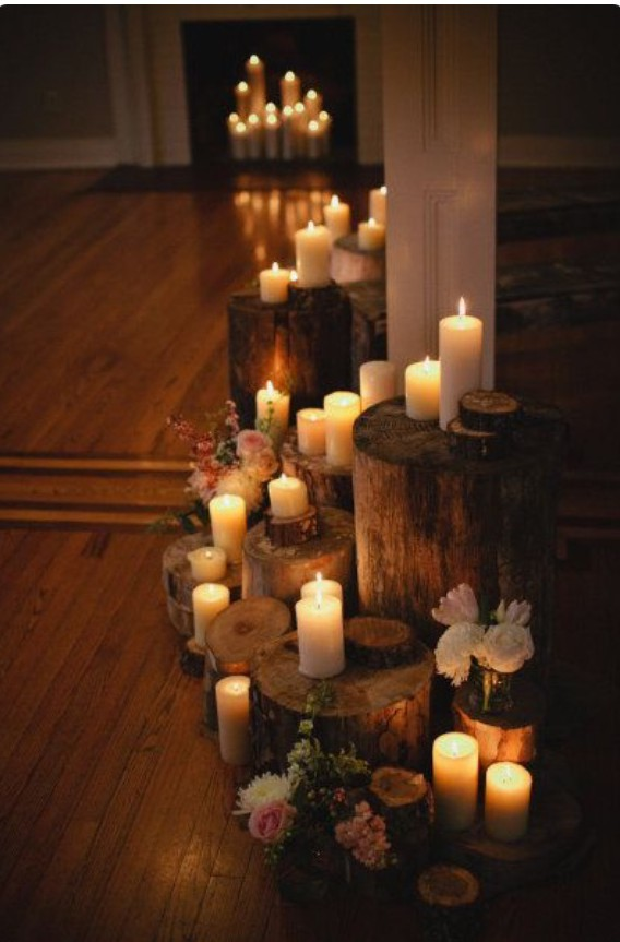 Candle wooden stumps_ Photograph by Kristyn Hogan