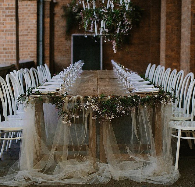 Sheer drape table runner