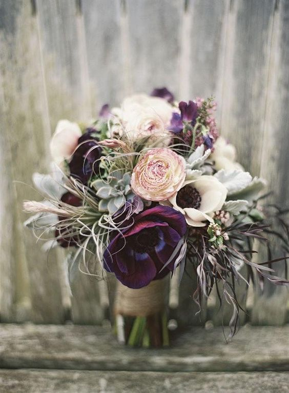 Berry toned wedding bouquet via Pinterest. Flowers by Flora Grubb Gardens