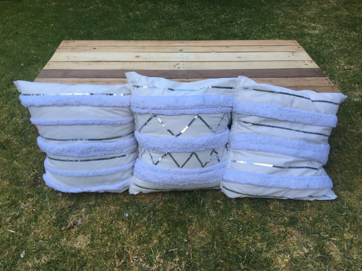 Eve to Dawn boho cushions to hire