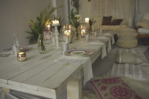 Low to ground white wash table setting