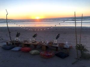 Boho Beach Dinner at sunset